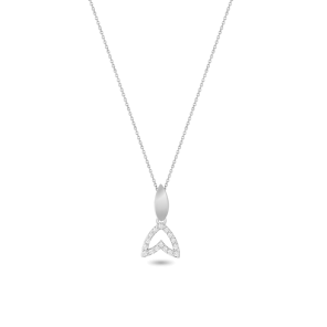 Necklace,Sterling Silver,White Zircon