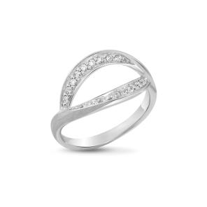 Ring,Sterling Silver, White Zircon