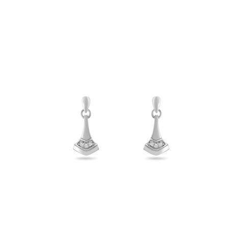 Earring,Sterling Silver,White Zircon