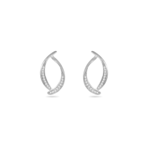 Earring,Sterling Silver,White Zircon