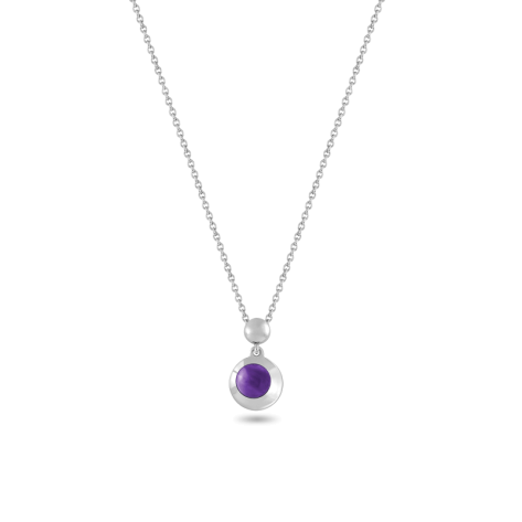 Pendant, Sterling Silver, Amethyst